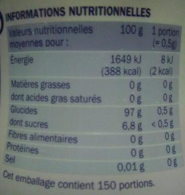 Edulcorant sucralose en poudre - Informations nutritionnelles - fr