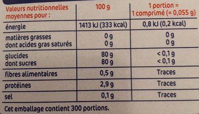 Edulcorant sucralose x300comp - Informations nutritionnelles