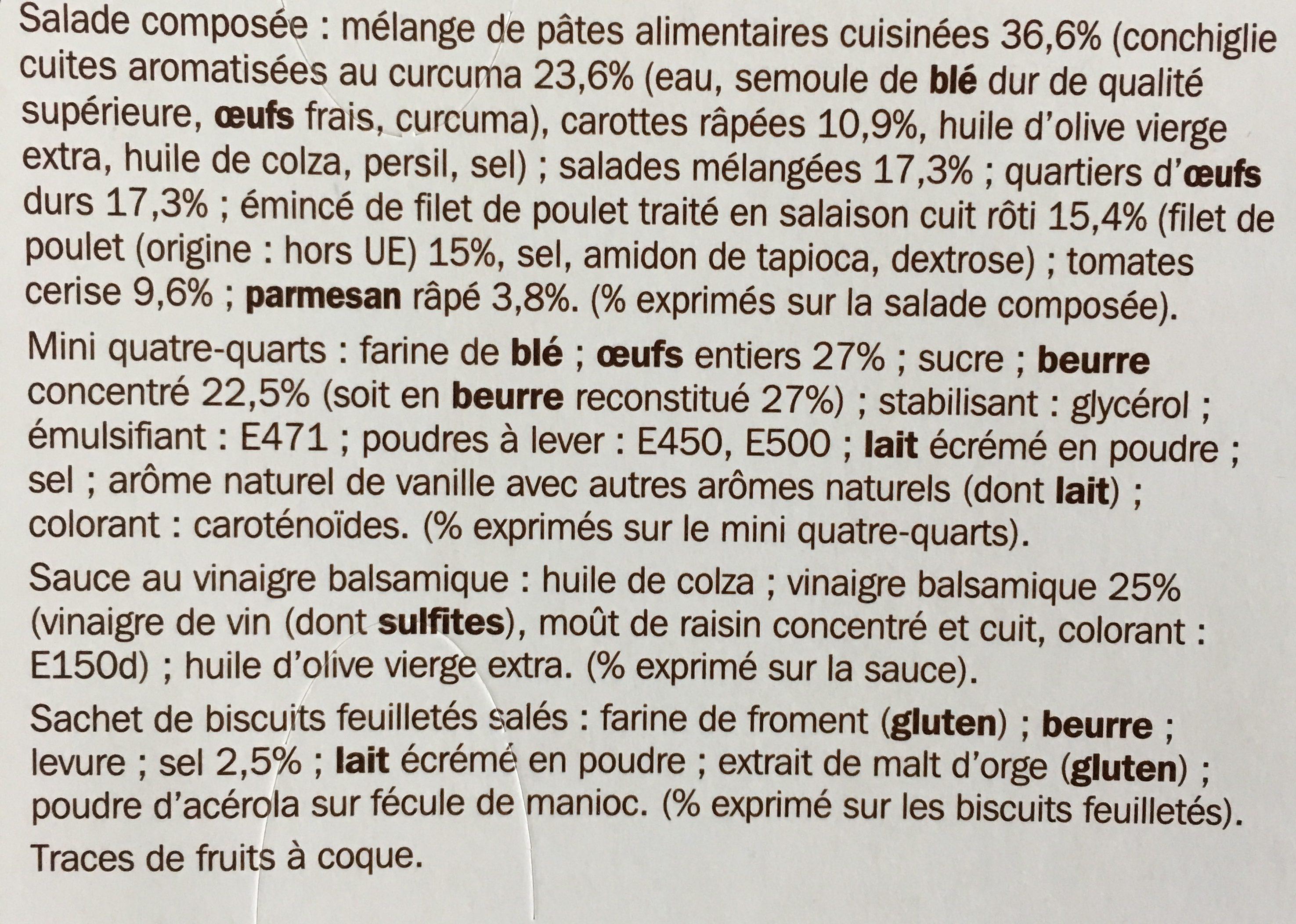Salade poulet crudités parmesan - coffret - Ingrédients