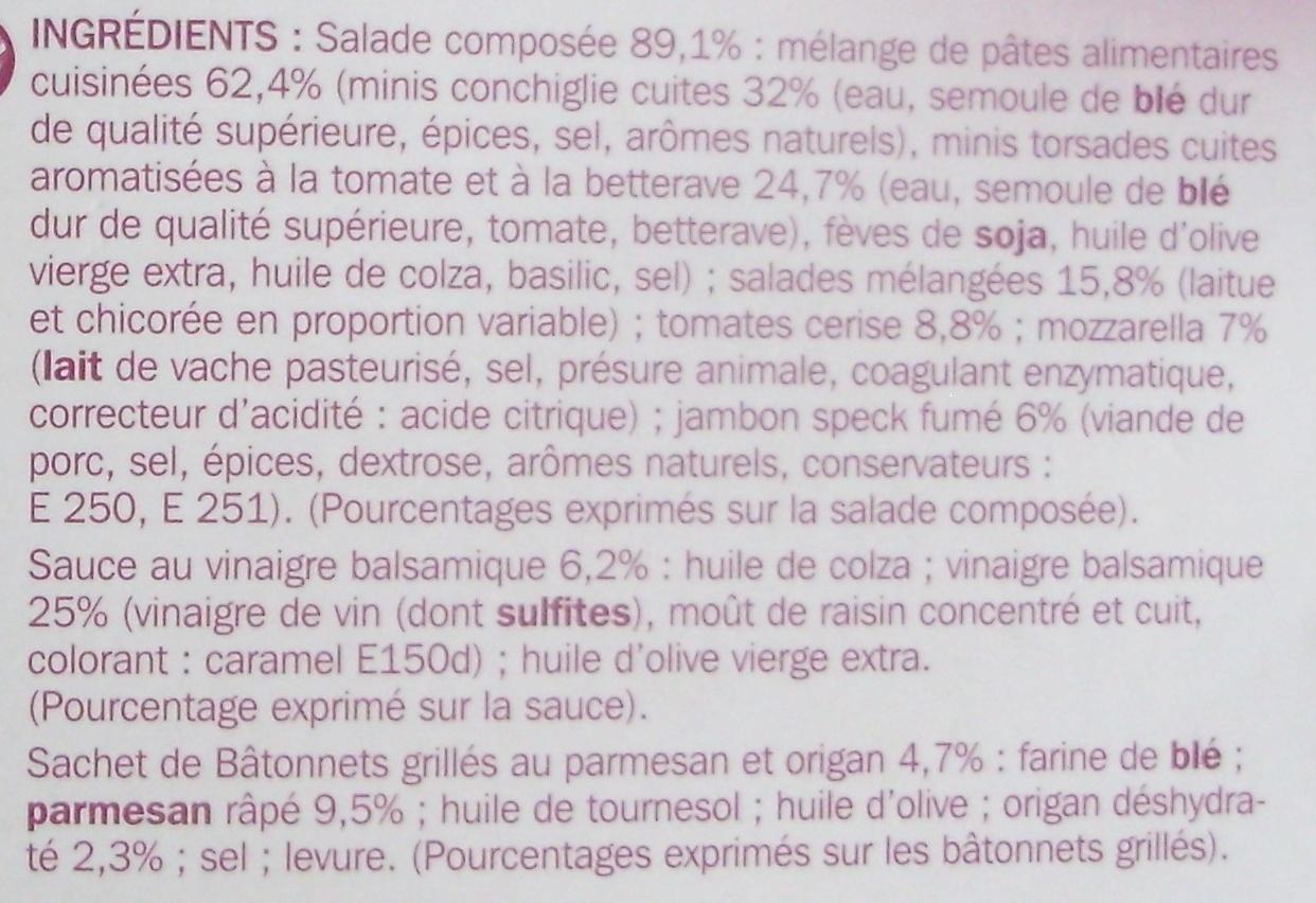 Salade speck crudités mozzarella - coffret - Ingrédients - fr