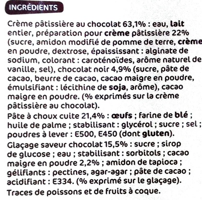Trofic - éclairs au chocolat à la crème pâtissière - Ingrédients - fr