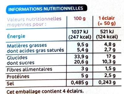 Trofic - éclairs au chocolat à la crème pâtissière - Informations nutritionnelles - fr