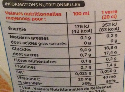 Pur jus orange sans pulpe (format maxi) - Nutrition facts