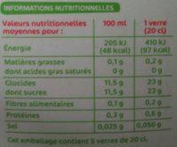 Pur Jus Ananas Mangue Citron Vert - Nutrition facts
