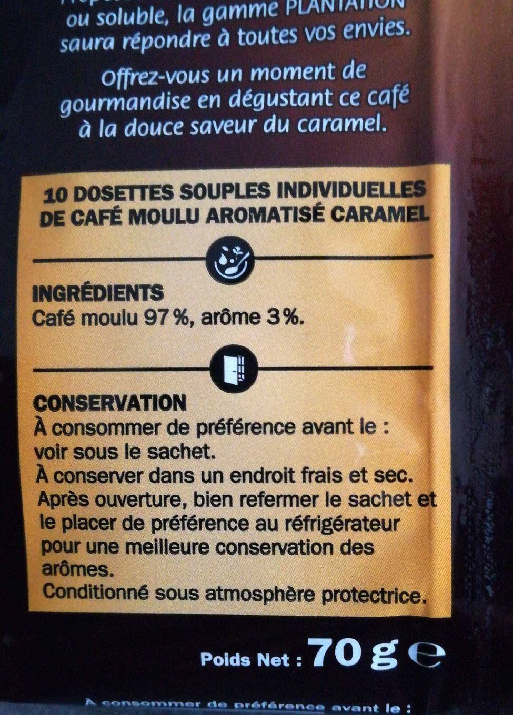 Dosettes café saveur caramel x 10 - Informations nutritionnelles - fr
