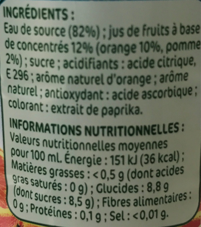 Orange a l'eau de source - Voedingswaarden - fr