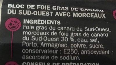 Pierre de Cammeyrac Bloc de foie gras de Canard du Sud-Ouest - Ingrediënten - fr