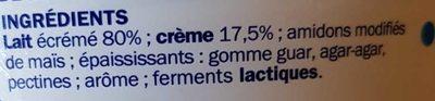 Spécialité laitière épaisse 7% Mat. Gr. - Ingredientes