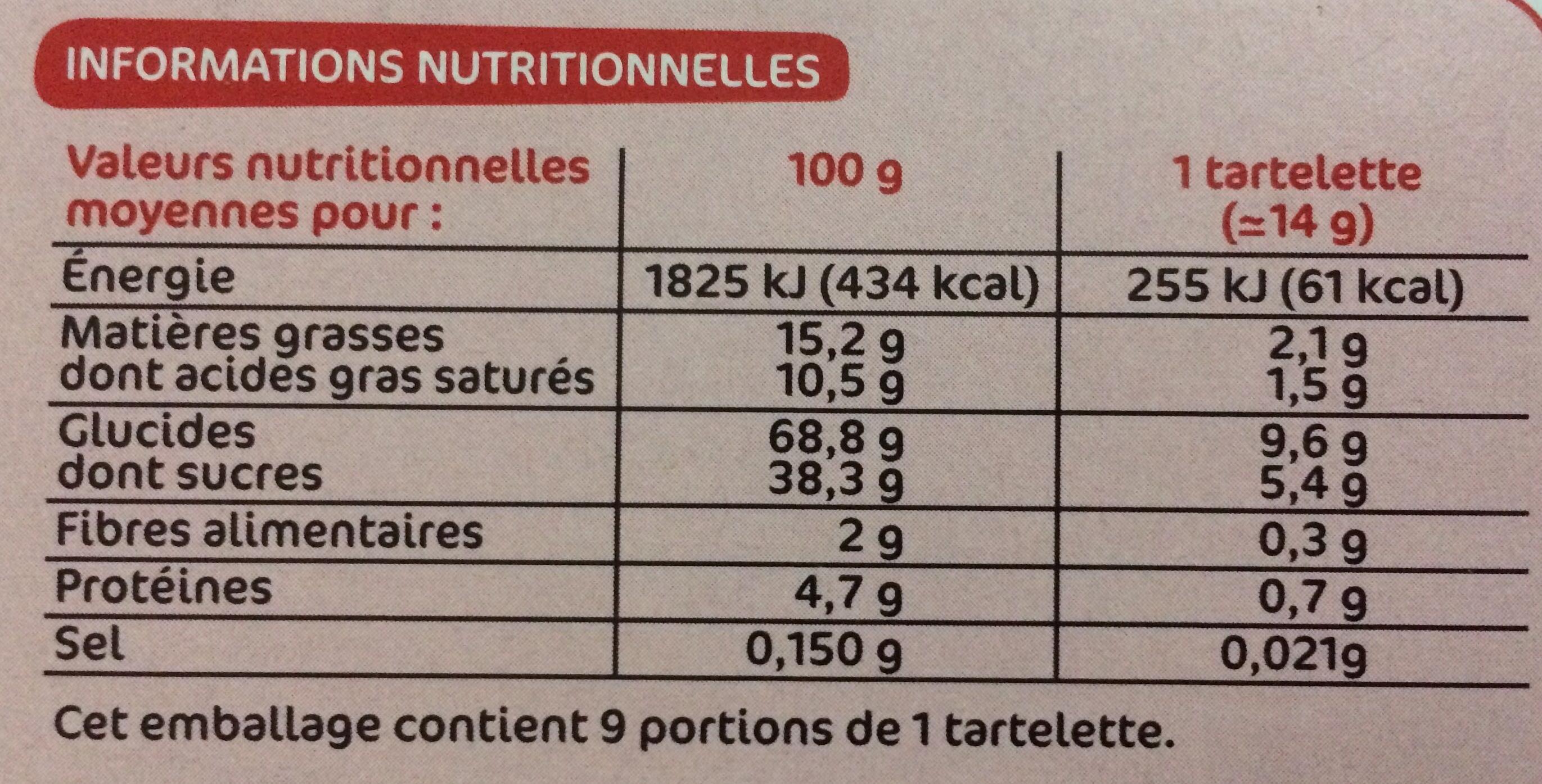 P'tit déli - Tartelettes fruits rouges et crumble - Informations nutritionnelles - fr