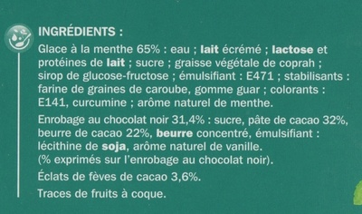 Trium menthe - Ingrédients - fr
