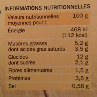 Gratin dauphinois - Nutrition facts