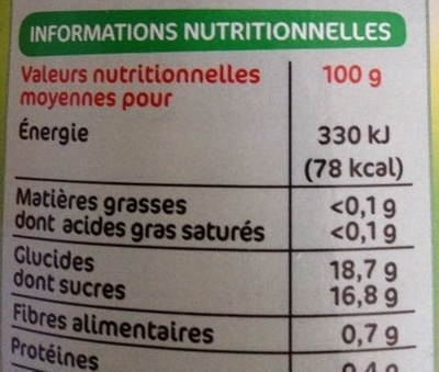 Pêches demi-fruits au sirop - Informations nutritionnelles