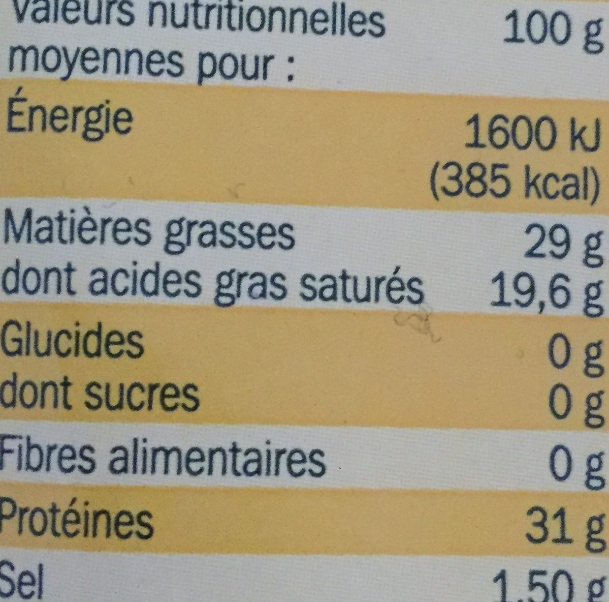 Il grattugiato 29% Mat. Gr. - Nutrition facts - fr