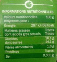 Compotes de pomme allégée en sucres - Nutrition facts - fr