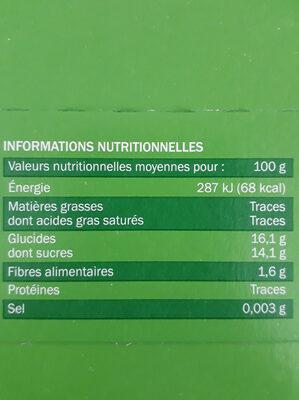 Compotes allégées pomme - Informations nutritionnelles