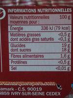 Dessert de fruits pomme rhubarbe - Informations nutritionnelles
