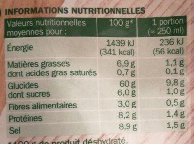 Soupe déshydraté velouté bolets - Informations nutritionnelles