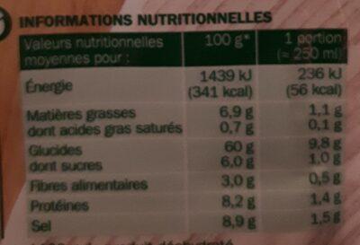 Soupe déshydraté velouté bolets - Nutrition facts - fr