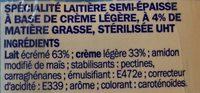 Crème UHT semi-épaisse 4% Mat. Gr. - Ingrediënten - fr