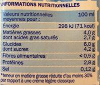 Crème UHT semi-épaisse 4% Mat. Gr. - Voedingswaarden - fr