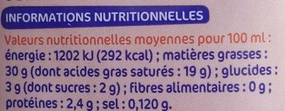 Crème semi-épaisse entière UHT 30 % Mat. Gr. - Informations nutritionnelles - fr