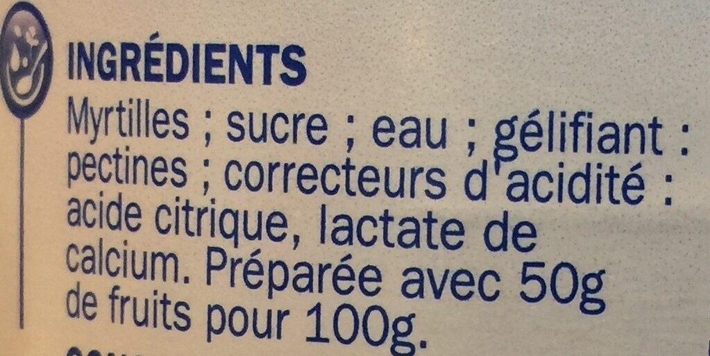 Les allégées en sucres Myrtille - Ingrediënten - fr