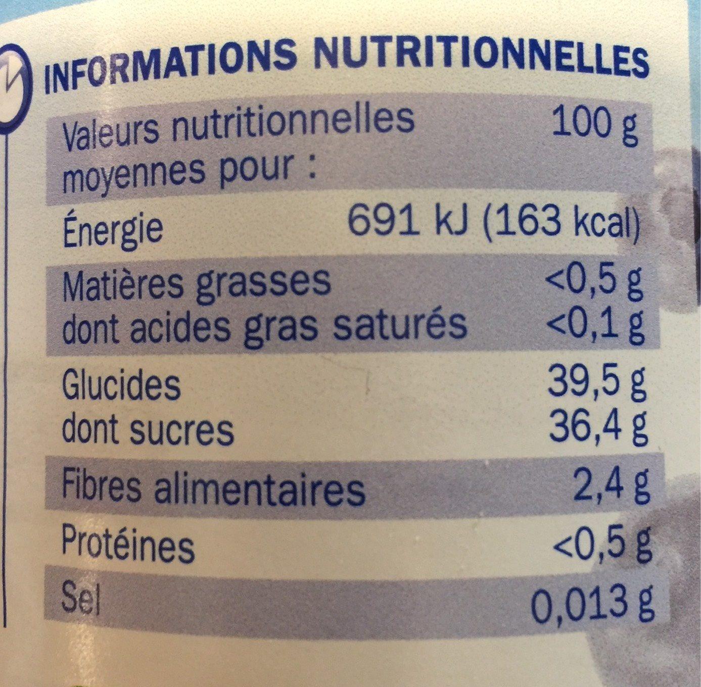 Les allégées en sucres Myrtille - Voedingswaarden - fr