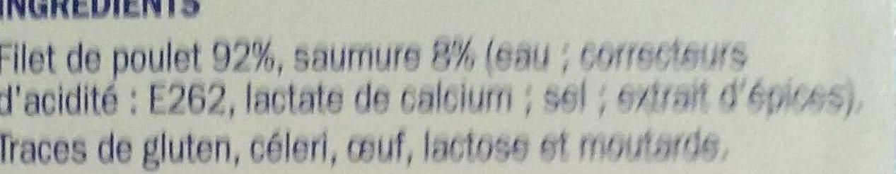Filets de poulet blanc extra tendres certifiés x 2 - Ingredients - fr