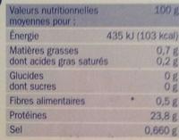 Filets de poulet blanc extra tendres certifiés x 2 - Nutrition facts - fr