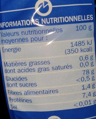Riz du Cambodge - Valori nutrizionali - fr