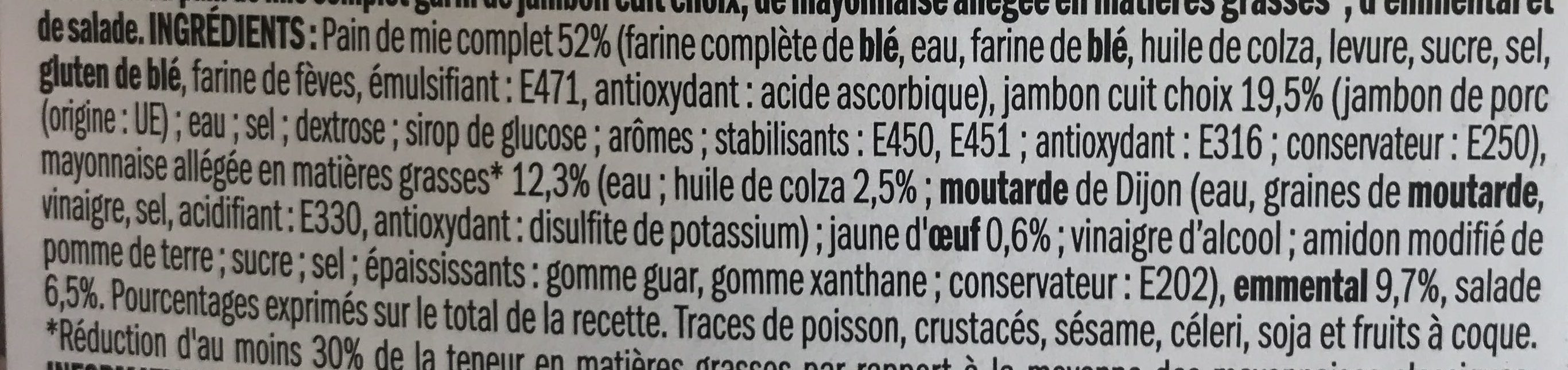 Sandwich club triple jambon emmental salade - Ingredients