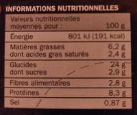 Pizza campagnarde 400G surgelé - Valori nutrizionali - fr