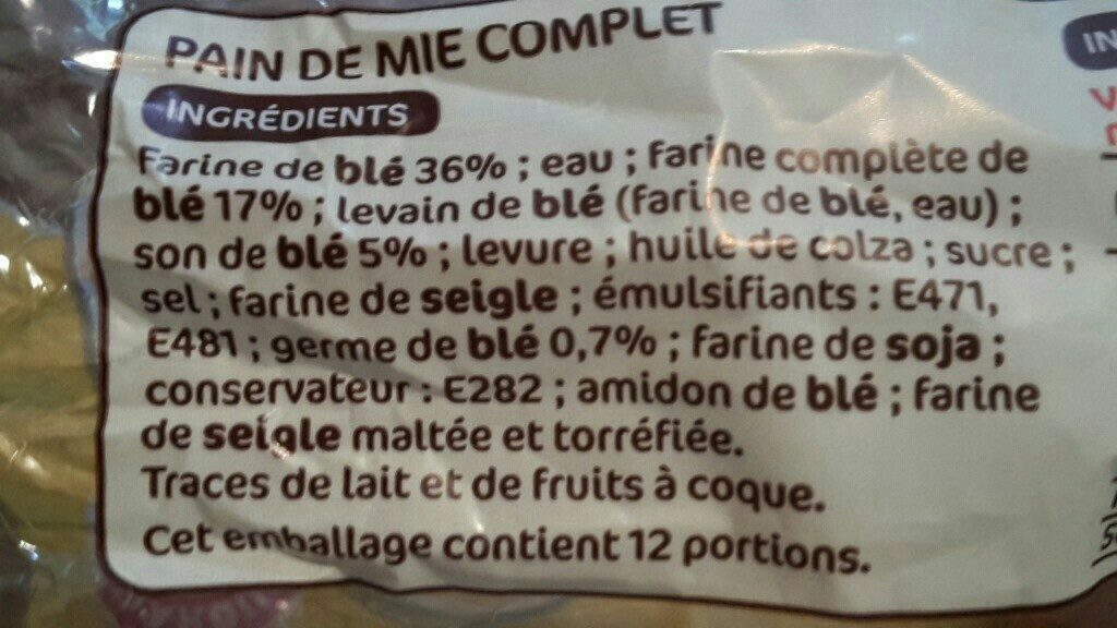 Pain de mie complet extra moelleux - Ingredients - fr