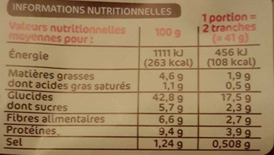 Pain de mie complet extra moelleux - Nutrition facts - fr