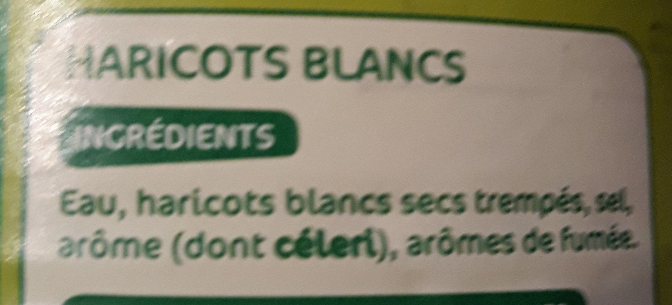 Haricots blancs 530g pne - Ingredients