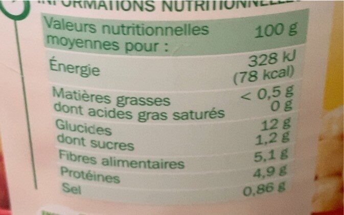 Haricots blancs tomate - Nutrition facts - fr