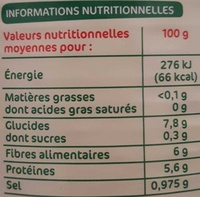 Haricots blancs tomate 530g pne - Nutrition facts