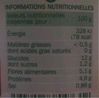 Haricots blancs tomate 1/2 - Informations nutritionnelles - fr