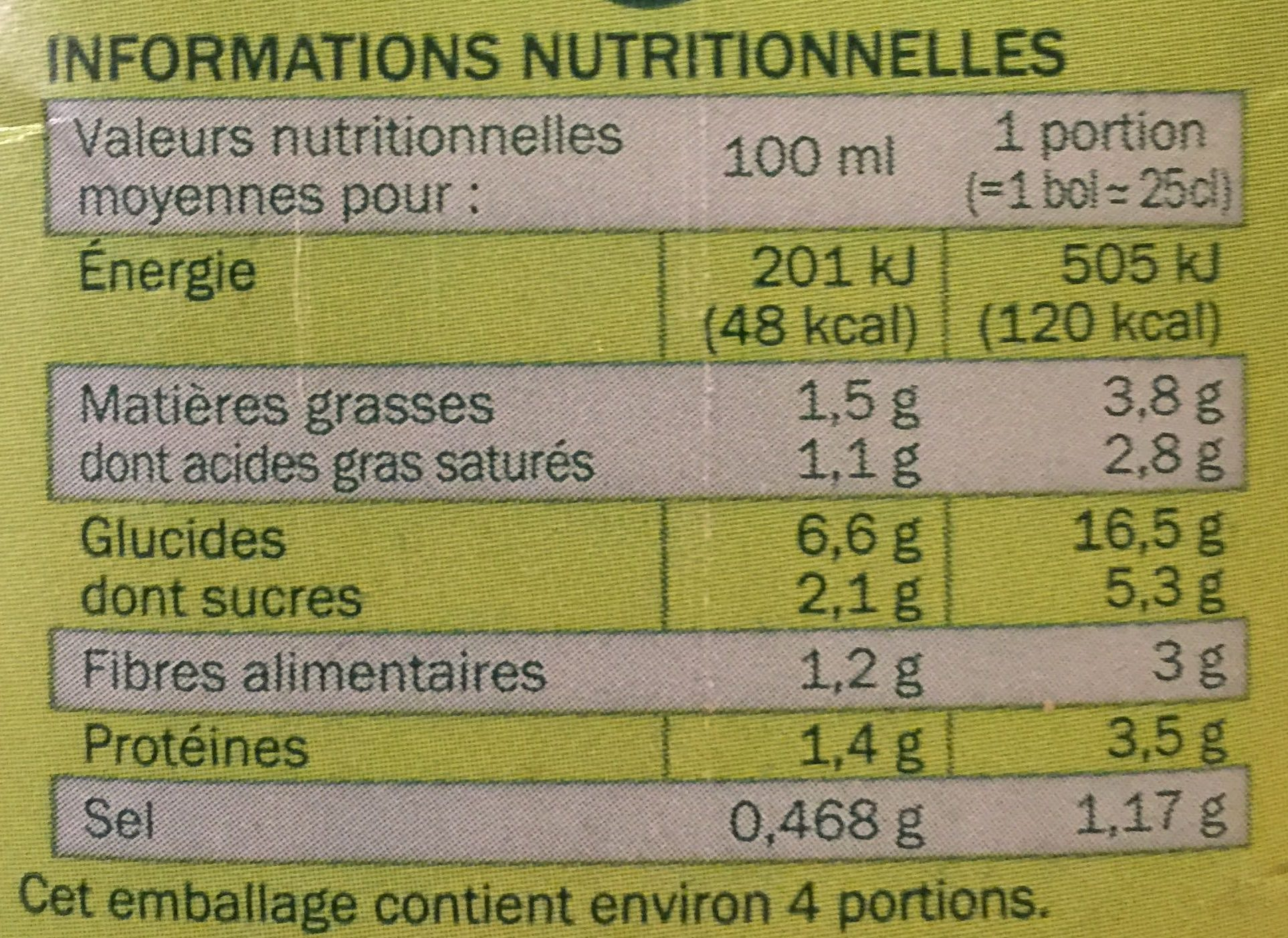 Soupe légumes vermicelles - Informations nutritionnelles - fr