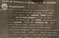 Velouté poireaux St Jacques - Ingredients
