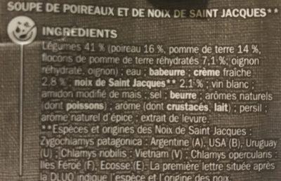 Velouté poireaux St Jacques - Ingrédients - fr