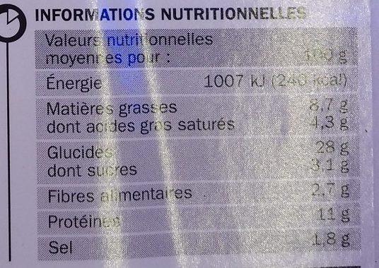 Mega Cheese Bœuf légèrement épicé - Nutrition facts