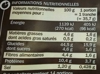 Pain de mie farine complète et orge maltée - Informations nutritionnelles - fr
