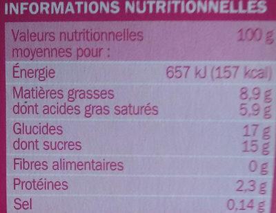 Panna cotta aux fruits rouges x 4 - Nutrition facts - fr