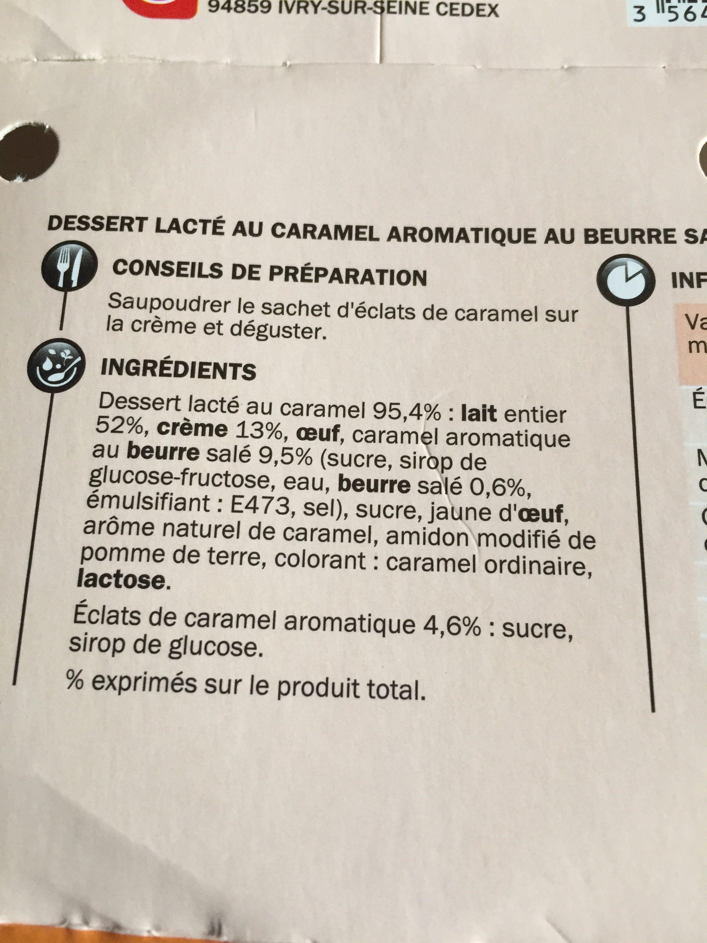 Crème onctueuse au caramel - Ingrédients - fr