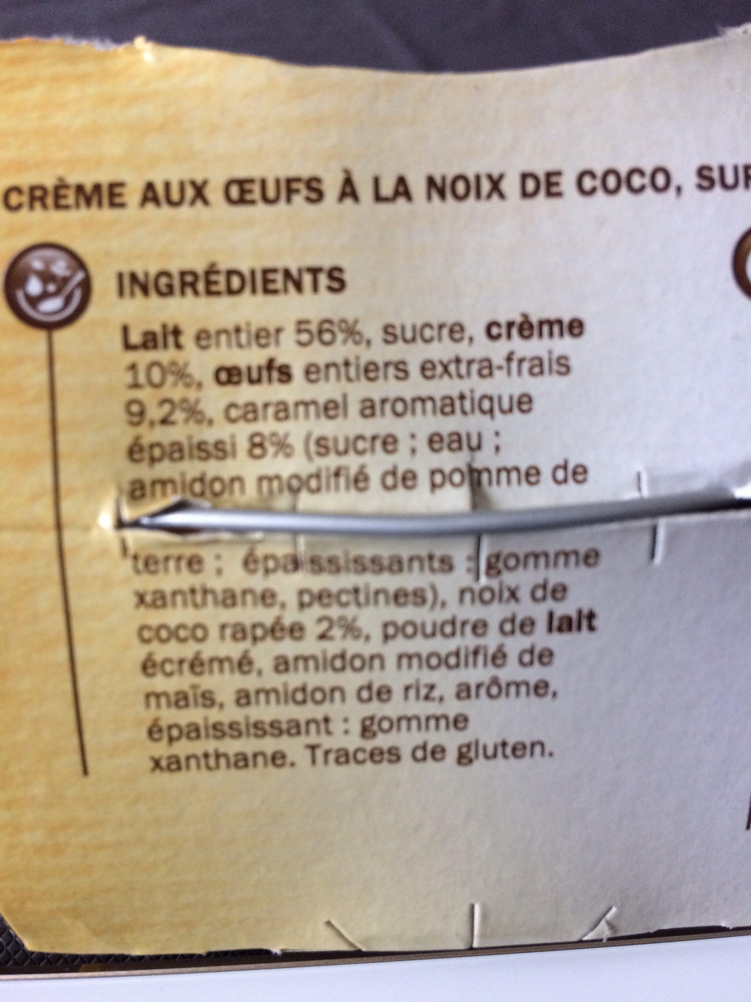 Crème aux oeufs à la noix de coco sur lit de caramel - Ingrédients - fr