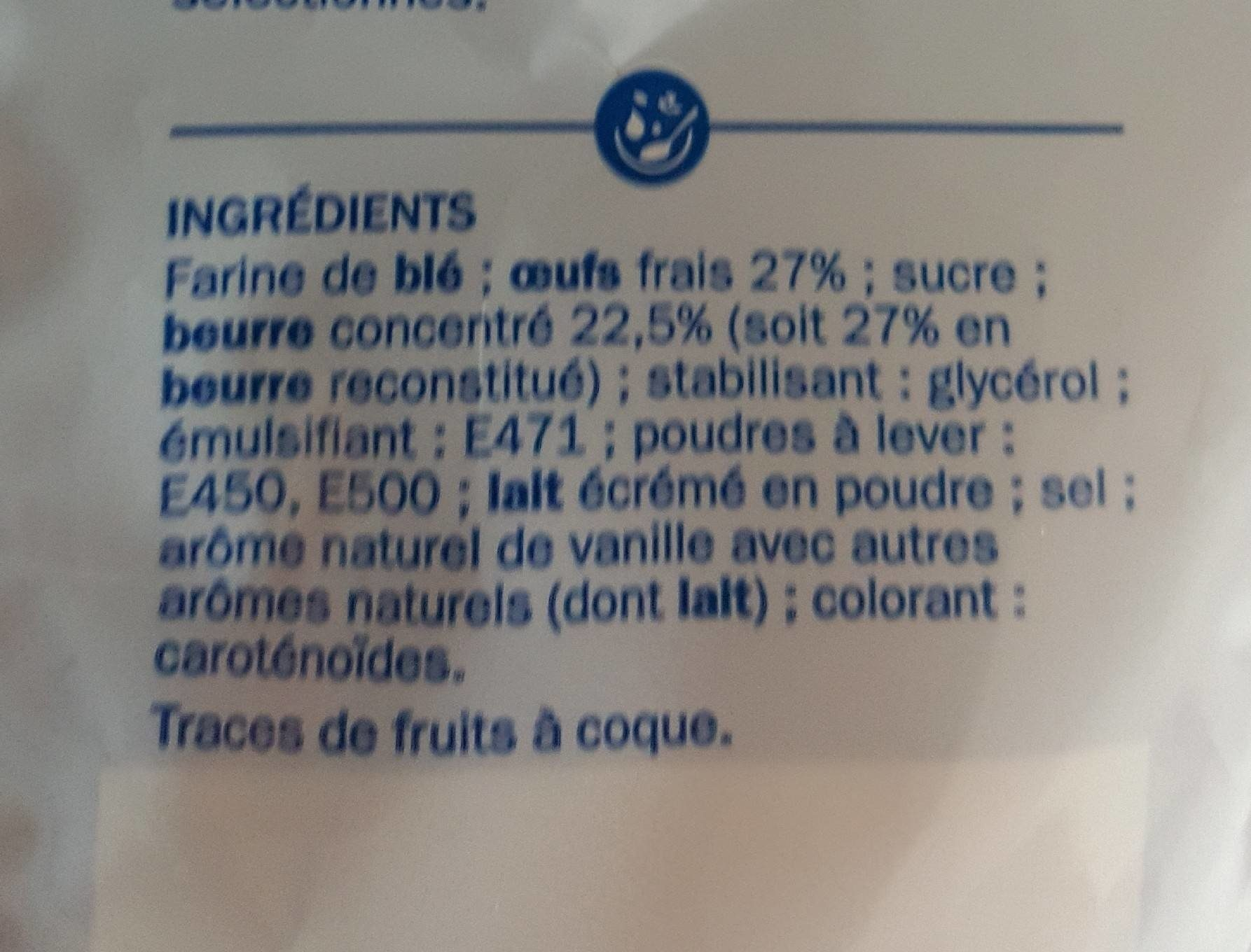 Mini quatre-quarts de Bretagne - Informations nutritionnelles - fr