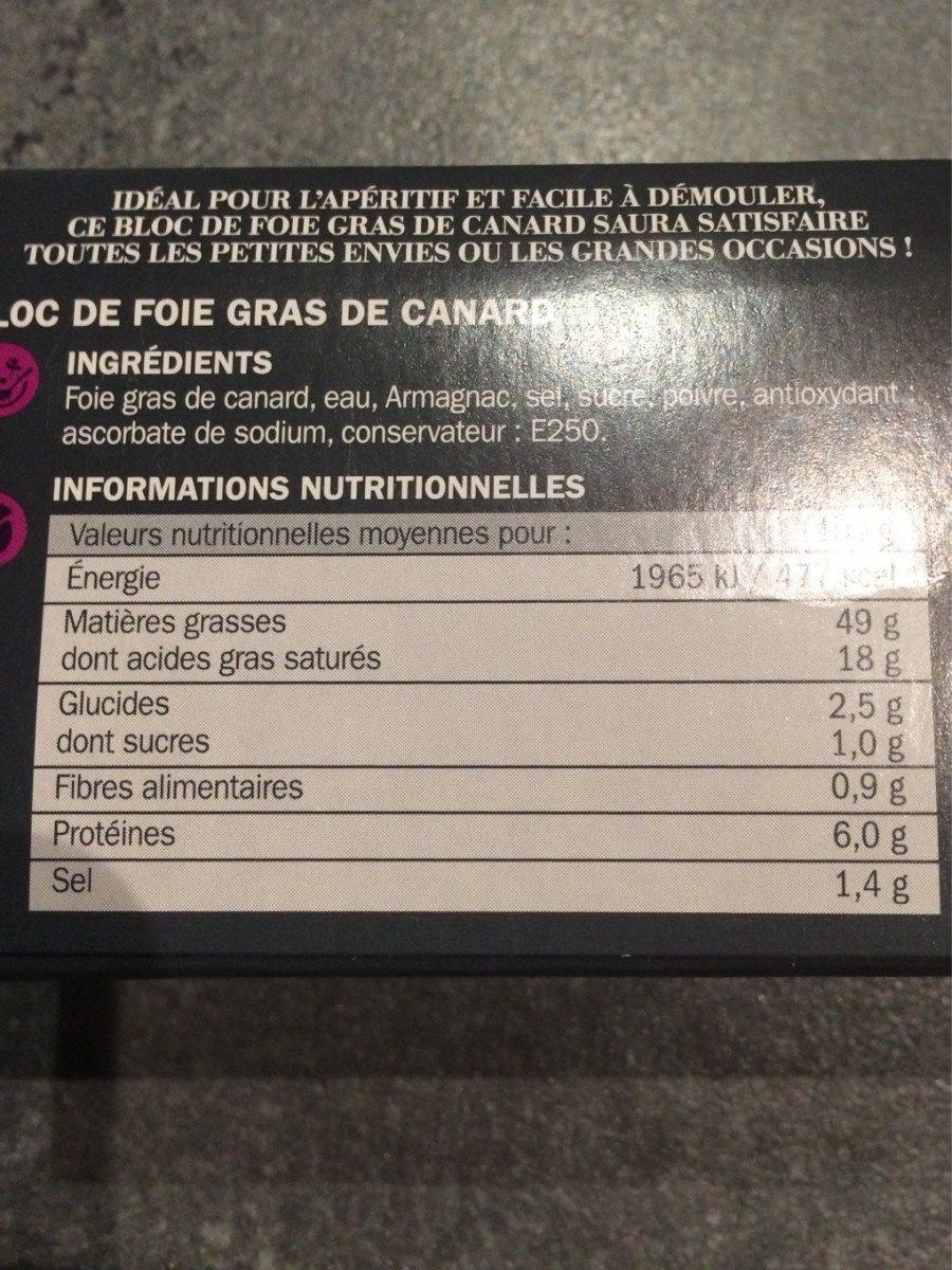 Bloc de foie gras spécial apéritif - Ingrediënten - fr