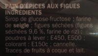 Pain d'épices aux figues - Ingrediënten - fr