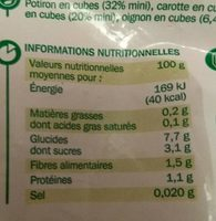 Légumes pour Potage Potiron - Carotte - Informations nutritionnelles - fr